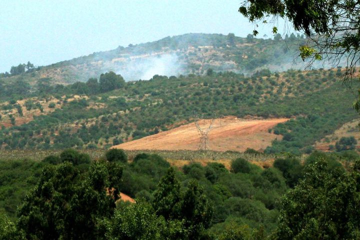 Un bombardement d'une forêt de Kabylie (Algérie), opéré par l'armée algérienne pour lutter contre les jihadistes cachés dans le massif montagneux, en août 2007. ( AFP )