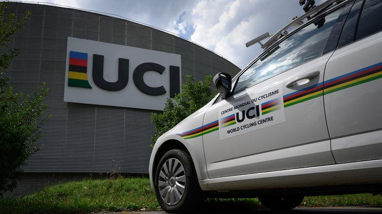 Le siège de l'organe directeur du cyclisme mondial UCI (Union Cycliste Internationale) à Aigle, en Suisse.  (FABRICE COFFRINI / AFP)