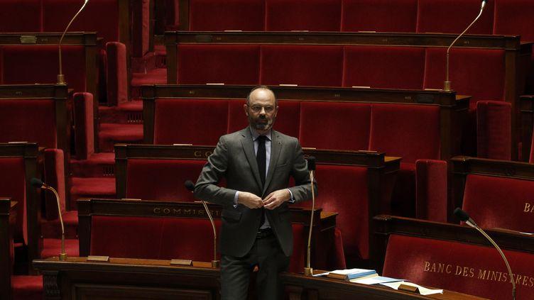Edouard Philippe à l'Assemblée nationale, à Paris, le 31 mars 2020. (YOAN VALAT / POOL / AFP)