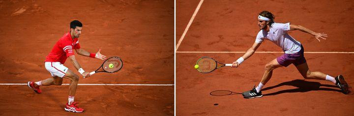 Djokovic et Tsitsipas s'affronteront pour le titre dimanche 13 juillet, sur le court Central de Roland-Garros. (ANNE-CHRISTINE POUJOULAT / AFP)