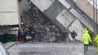 Un viaduc de l'autoroute A10 s'est effondré à Gênes (Italie), le 14 août 2018. (LA REPUBBLICA / REA)