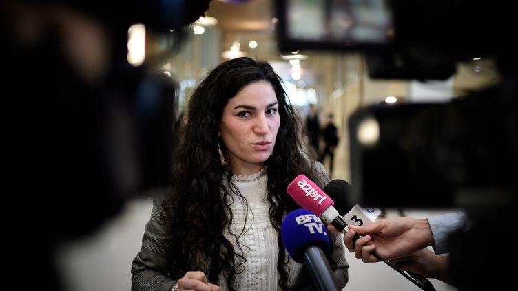 Marie Laguerre au tribunal de Paris, le 4 octobre 2018. (PHILIPPE LOPEZ / AFP)