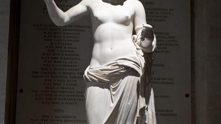 """""""La Venus d Arles"""" (du nom du lieu de sa decouverte) est une sculpture en marbre degagee en 1651 lors de la fouille des vestiges romains proches du théâtre antique d'Arles. Alors qu'elle est exposée au Louvre depuis deux siècles, la ville d'Arles souhaiterait la voir de retour """"sur ses terres natales"""". (DIDIER SAULNIER / MAXPPP)"""