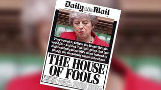 """La une du journal britannique """"Daily Mail"""" du mercredi 13 mars 2019, après le second vote perdu par Theresa May. (DAILY MAIL)"""