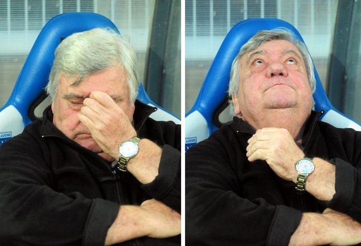 Louis Nicollin, président de Montpellier, a souffert le martyre sur le banc de son club, avant le titre de champion, le 20 mai 2012. ( / MAXPPP)