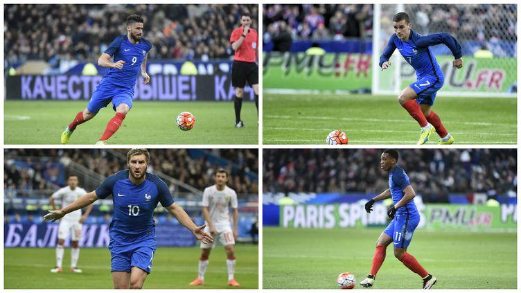 Giroud, Griezmann, Gignac et Martial, quatre des attaquants potentiels pour l'Euro 2016