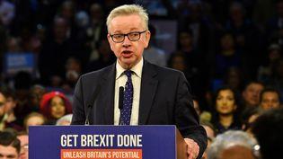 Le ministre d'Etat Michael Gove lors de sa campagne en faveur du Brexit, le 11 décembre 2019 à Londres. (BEN STANSALL / AFP)