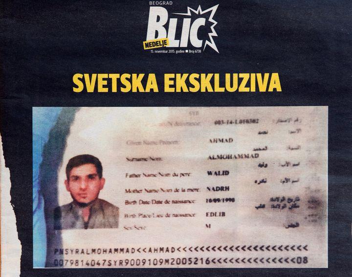 Un passeport syrien au nom d'Ahmad Al-Mohammad a été retrouvé près d'un kamikaze du Stade de France, vendredi 13 novembre. (AFP)