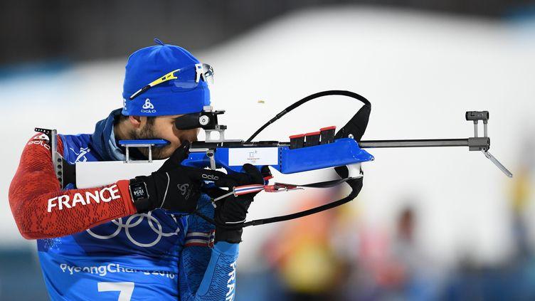 L'athlète Martin Fourcade, le 20 février 2018 à Pyeongchang (Corée-du-Sud). (JONATHAN NACKSTRAND / AFP)