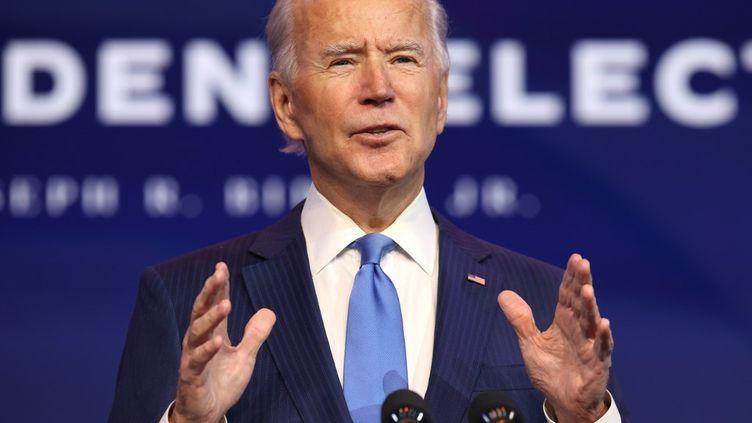 Le démocrate Joe Biden lors d'un discours à Wilmington (Delaware), aux Etats-Unis, le 11 décembre 2020. (CHIP SOMODEVILLA / GETTY IMAGES NORTH AMERICA / AFP)