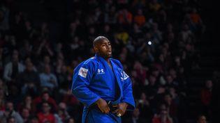 Le judoka Teddy Riner, ici le 9 février 2020 à Paris, faisait partie des athlètes visés par des inscriptions racistes retrouvées sur des clôtures de l'Insep. (LUCAS BARIOULET / AFP)
