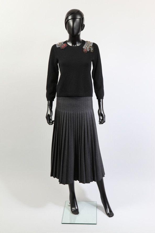 Prada, jupe plissée en laine et soie (vente Fashion Flah à Drouot), mars 2015 (Estimation : 100 / 150 €).  (Prada)