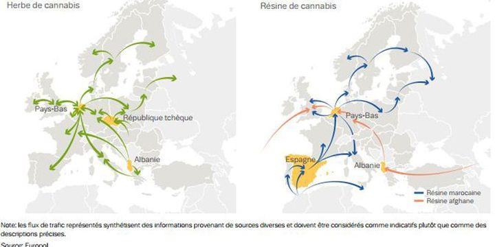 Trafic de cannabis dans le monde (source Europol) (Source Europol)