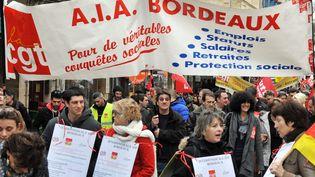 Journée de grève de la fonction publique à l'appel de la CGT, de la FSU et de Solidaires, le 31 janvier 2013 à Bordeaux (Gironde). (PIERRE ANDRIEU / AFP)