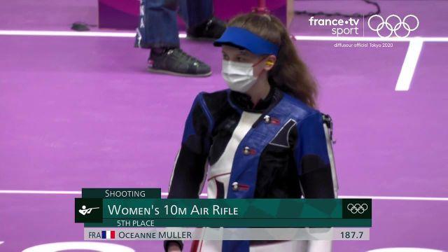 Plus jeune engagée de l'épreuve de la carabine à 10 mètres, l'Alsacienne Océanne Muller, 18 ans, termine à la cinquième place après un parcours remarquable.