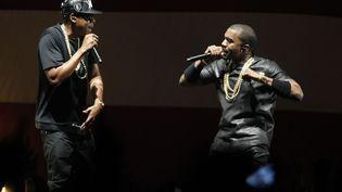 Jay-Z et Kanye West vendredi 1er Juin 2012 à Bercy.  (©photoPQR/Le Parisien/ Frederic Dugit)
