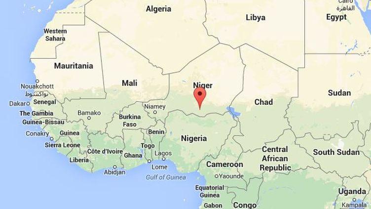 """Capture d'écran de Google Maps pointant la deuxième ville du Niger où un centre culturel français a été incendié après la publication du dernier numéro de """"Charlie Hebdo"""". ( GOOGLE MAPS)"""