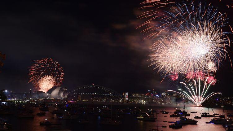 Les feux d'artifices de la Saint-Sylvestre à Sydney (Australie), le 31 décembre 2015. (SAEED KHAN / AFP)
