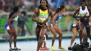Aux Jeux de Rio, en 2016, Novlene Williams-Mills remporte l'argent avec ses coéquipières jamaïcaines en relais 4x400m, quatre ans après son cancer du sein. (JOHANNES EISELE / AFP)