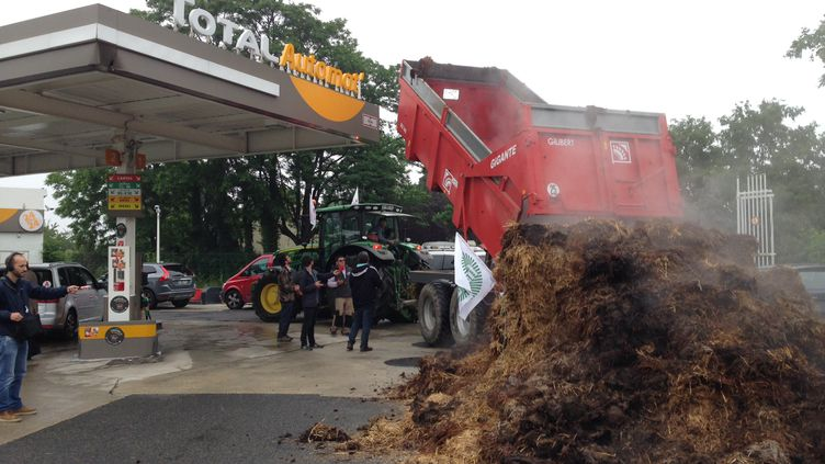 Une opérationcoup de poing des agriculteurs dans une station de carburantsàRis-Orangis, près du dépôt de Grigny (Essonne). (RADIO FRANCE / RAYMOND ALBOUY)
