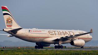 Un avion de la compagnie émiratie Ethihad, le 21 septembre 2014 à l'aéroport de Rome (Italie). (ALBERTO PIZZOLI / AFP)