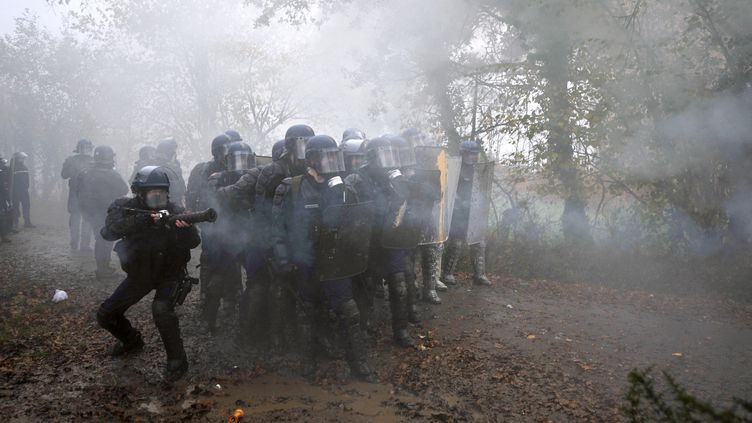 Près de 500 gendarmes ont procédé à l'évacuation des squatteurs du bocage de Notre-Dame-des-Landes (Loire-Atlantique), le 23 novembre 2012 au matin. (FRANK PERRY / AFP)