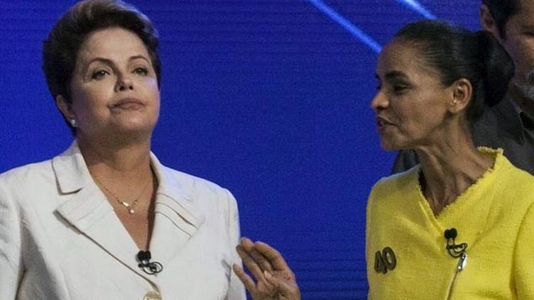 (Après avoir soutenu Marina Silva contre Dilma Rousseff, ici en débat le 2 octobre, le PSB soutient le centriste Aecio Noves © MaxPPP)