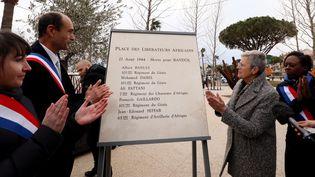 Inauguration de la Place des libérateurs africains à Bandol (Var) en présence de Geneviève Darrieussecq, secrétaire d'État auprès de la ministre des Armées, le 20 janvier 2020. (VALERIE LE PARC / MAXPPP)