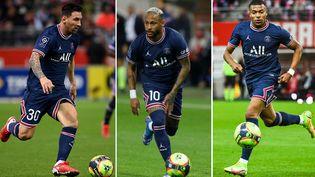 Lionel Messi, Neymar et Kylian Mbappé lors du match du PSG contre Reims, le 29 août 2021 en Ligue 1. (AFP)
