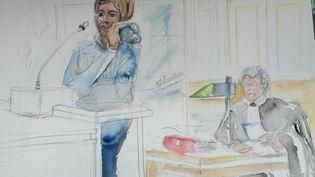 Myriam Badaoui témoigne à la barre lors du troisième procès Outreau à Rennes, le mercredi 27 mai. (ELISABETH DE POURQUERY / FRANCETV INFO)