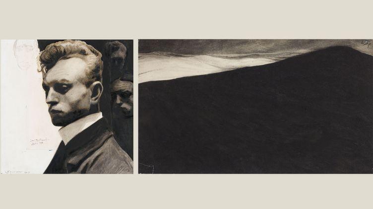 """Léon Spilliaert, à gauche """"Autoportrait aux masques"""", 1903 Paris, musée d'Orsay, conservé au département des Arts Graphiques du musée du Louvre - à droite """"Paysage nocturne. Dune et mer déchainée"""", 1900 Bruxelles, Bibliothèque royale KBR – Cabinet des Estampes (A gauche, © RMN -Grand Palais (Musée d'Orsay) / Thierry Le Mage)"""