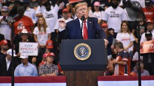 Le président américain Donald Trump prononce un discours lors d'un rassemblement à Sunrise (Floride), le 26 novembre 2019. (KYLE MAZZA / ANADOLU AGENCY / AFP)