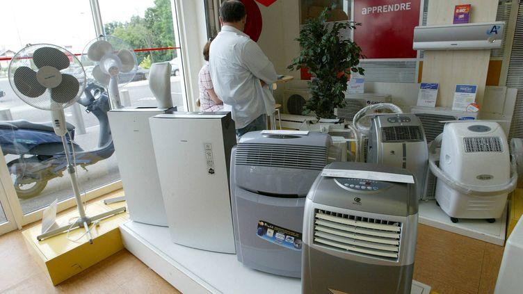 Des ventilateurs et climatiseurs chez un revendeur, à Bordeaux (Gironde). (MAXPPP)