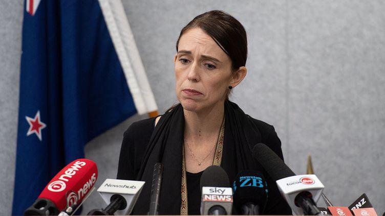 La Première ministre néo-zélandaise, Jacinda Ardern, s'adresse à la presse, le 16 mars 2019 à Christchurch. (MARTY MELVILLE / OFFICE OF PRIME MINITER NEW ZEAL / AFP)