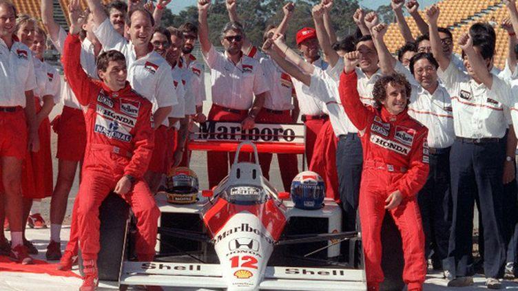 Alain Prost et Ayrton Senna en 1988, sous les couleurs de McLaren-Honda
