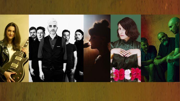 De gauche à droite : Laura Cox, Bazar Bellamy, June Coco, Cavale, Roseaux (Christophe Crenel, Raphaelle Darricauy, Joerg Singer, Anne-Laure Etienne, Ojoz)