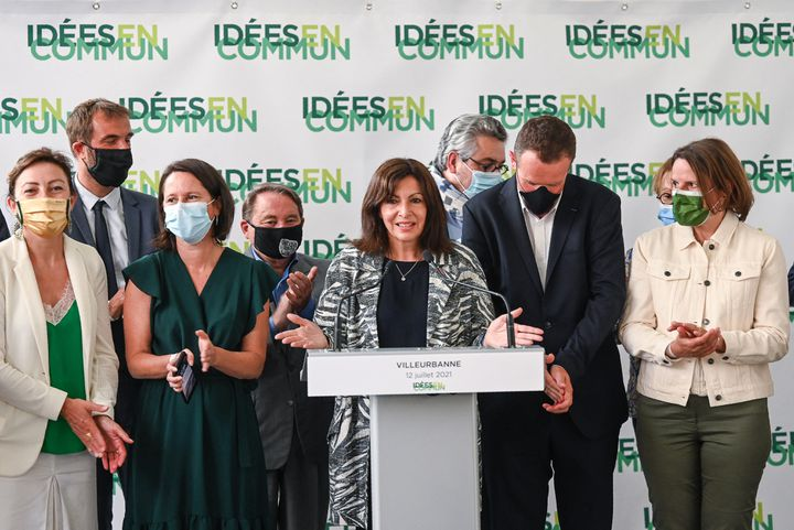 Anne Hidalgo réunit ses soutiens à Villeurbanne (Rhône), le 12 juillet 2021. (PHILIPPE DESMAZES / AFP)