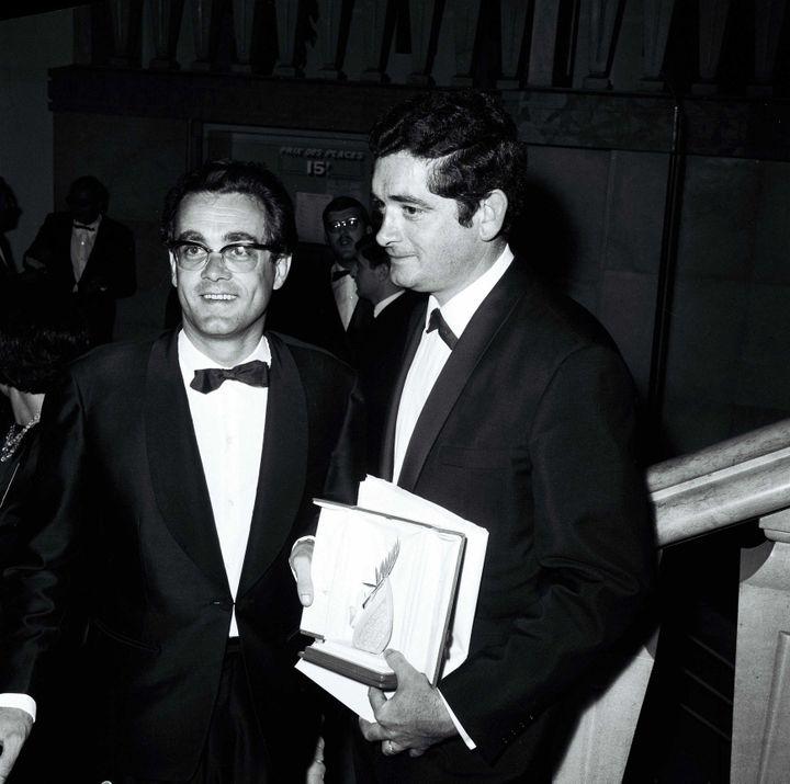 """Michel Legrand et Jacques Demy à Cannes pour """"Les parapluies de Cherbourg""""  (HUFFSCHMITT/SIPA)"""