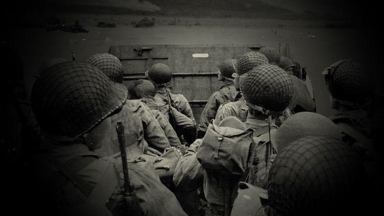 Soladats américains dans une barge de débarquement, le 6 juin 1944. (FRANCEINFO / BATISTE BOYER)