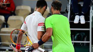 Novak Djokovic et Rafael Nadal se sont livrés un duelabsolument dantesque, vendredi 11 juin, à l'occasion de la demi-finale de Roland-Garros. (MARTIN BUREAU / AFP)