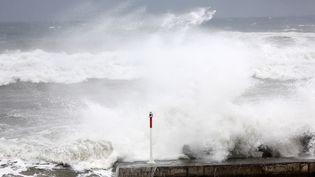 Une énorme houle cyclonique déferle sur le littoral de La Réunion, le 2 janvier 2014, à l'approche du cyclone Bejisa. (RICHARD BOUHET / AFP)