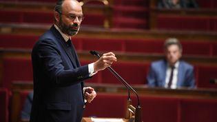 Le Premier ministre, Edouard Philippe, lors d'un débat sur plan de déconfinement, à l'Assemblée nationale, à Paris, le 28 avril 2020. (DAVID NIVIERE / AFP)