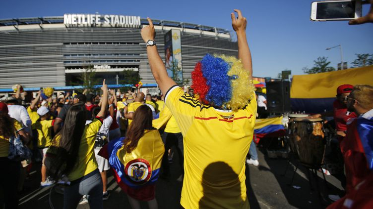 Les supporters colombiens avant un match de la Copa America, le 17 juin 2016 (EDUARDO MUNOZ ALVAREZ / AFP)