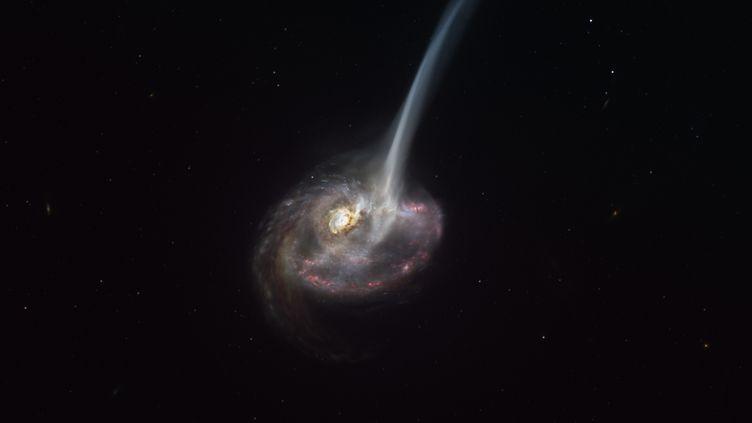 Une photo mise à disposition par l'Observatoire européen austral, le 8 janvier 2021, montre une impression d'artiste de la galaxie ID2299. (M. KORNMESSER / EUROPEAN SOUTHERN OBSERVATORY / AFP)