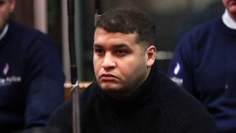 Nacer Bendrer lors du verdict du procès pour l'attentat du Musée juif de Bruxelles, le 12 mars 2019 au palais de justice de Bruxelles. (YVES HERMAN / POOL)