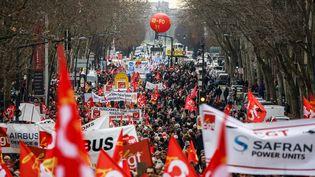 Une manifestation à Toulouse contre la réforme des retraites, le 16 janvier 2020. (FR?D?RIC SCHEIBER / HANS LUCAS / AFP)