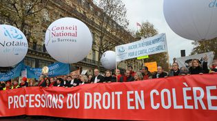 Les manifestants protestent contre le projet de loi du ministre Emmanuel Macron, le 10 décembre 2014 à Paris. (CITIZENSIDE / JACQUES BOUTONNET / AFP)