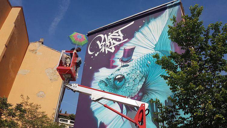 Le graffeur Kalouf termine sa fresque de 120 m² sur un mur de la Croix Rousse.  (Mur 69 / Véronique Vilmant)