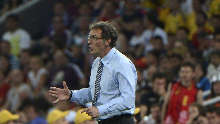 Laurent Blanc s'énerve sur le bord de la touche lors du match Espagne-France, le 23 juin 2012 à Donetsk (Ukraine). (PIERRE-PHILIPPE MARCOU / AFP)