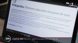 Elections régionales : petits arrangement sur internet (FRANCE 2)